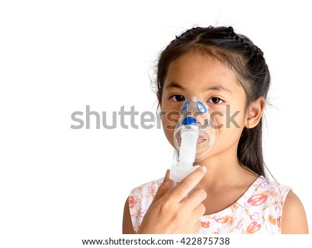 woman hand hold a mask vapor inhaler for girl . treatment of asthma. breathing through a steam nebulizer. concept of inhalation therapy apparatus. Isolated on white background