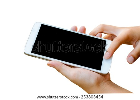 woman hand  hold and touch screen smart phone,tablet,cellphone isolated on white , abstract background for mobile banking,online banking concept. - stock photo