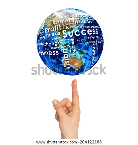 Woman hand hold Earth. On the globe written business words. Elements of this image are furnished by NASA - stock photo