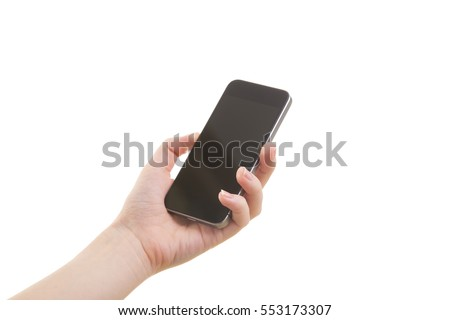 Woman hand hold mobile phone on white background