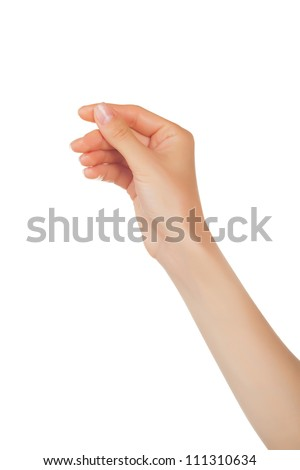 Woman hand hold virtual business card, credit card or blank paper isolated on white background - stock photo
