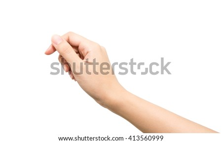 Woman Hand Hold Virtual Business Card Stock Photo 413560999