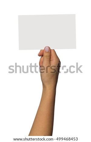 Woman hand hold virtual business card, credit card or blank paper isolated on white background