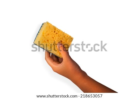 Woman hand holding a cleaning sponge isolated on a white background