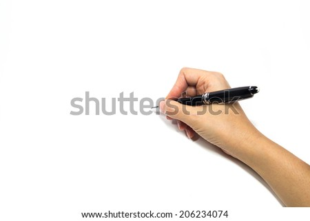 Woman hand holding a pen / A woman holding a pen on a white background. / Right hand