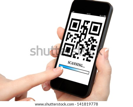 woman hand holding a phone with qr code on the screen with a blue stripe scanning - stock photo