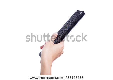 woman hand holding a tv remote control - stock photo