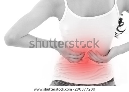 woman hand holding back pain or injury - stock photo