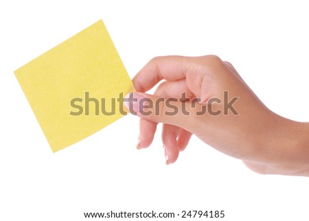 Woman hand holding blank notepaper on pure white background. - stock photo