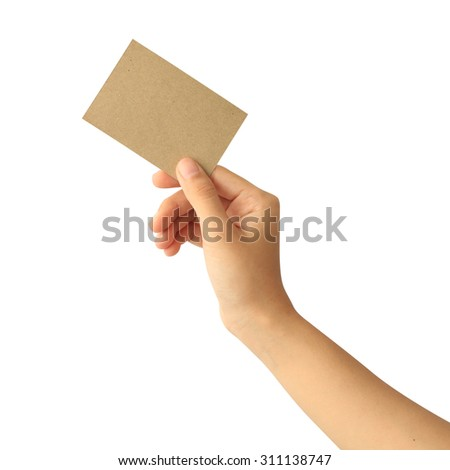 Woman hand holding blank paper business card isolated on white background