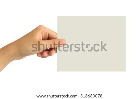Woman hand holding blank paper isolated on white background