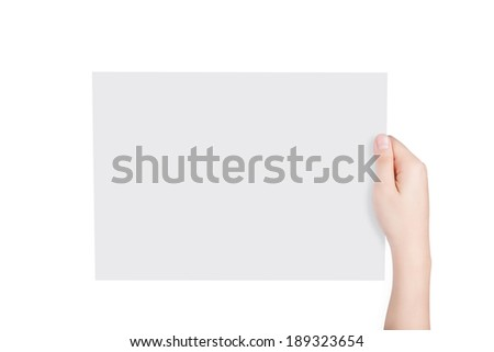 Woman hand holding blank paper with copy space isolated on white background. Include clipping path separated from two object.