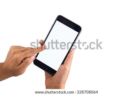 Woman hand holding blank smart phone with clipping path for the screen  - stock photo