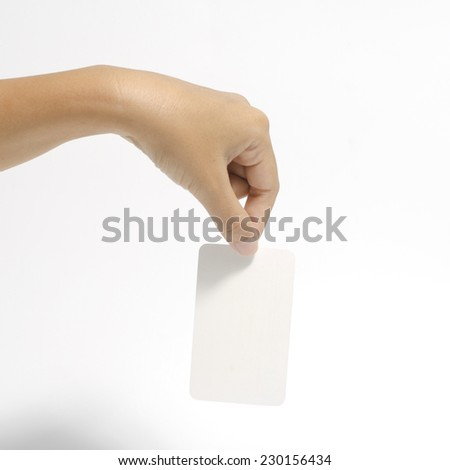 woman hand holding business card concept on a white background