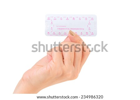 Woman hand holding contraceptive pill or birth control pill - stock photo