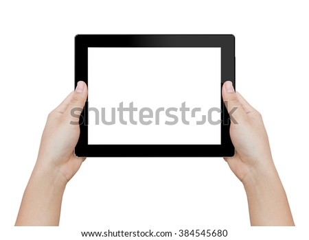 woman hand holding digital tablet similar to ipades isolated clipping patch inside image data - stock photo