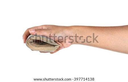 Woman hand holding dollar bill isolated on white background - stock photo