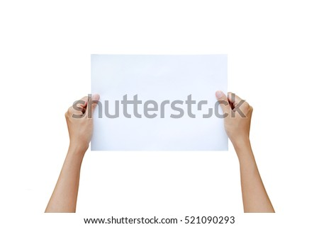 Woman hand holding Horizontal sheet of paper isolated on white background.