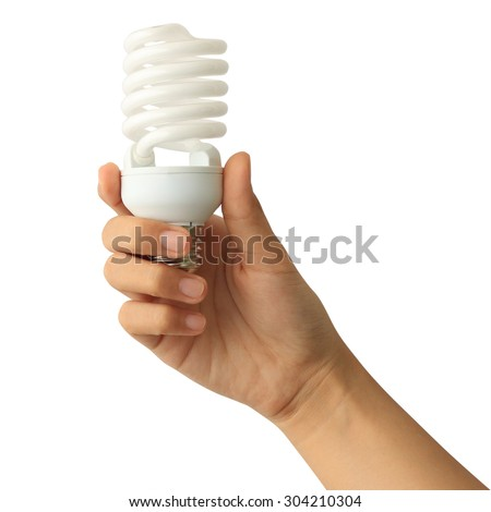 Woman hand holding light bulb isolated on white background - stock photo