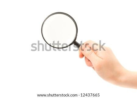 Woman hand holding magnifying glass isolated on white background