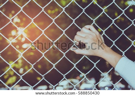 woman hand holding metal net cage against sunlight in the evening times , Freedom concept