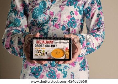 woman hand holding mobile with order food online. Delivery service concept - stock photo