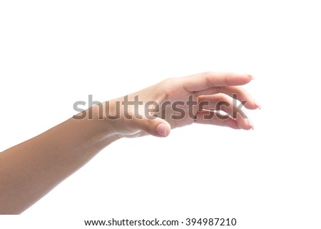 woman hand holding object isolated on white with clipping path included