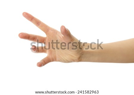 Woman hand holding or stretches. Isolated on white background