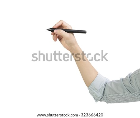 Woman hand holding pen writing side view, isolated on white. - stock photo