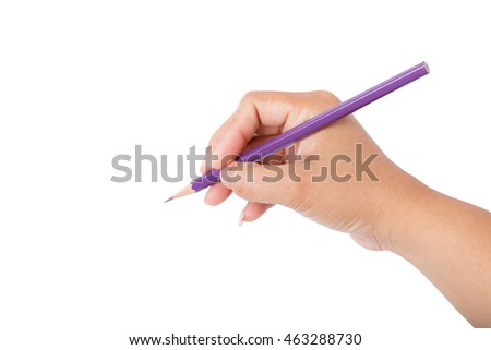 Woman hand holding pencil isolated on white white background