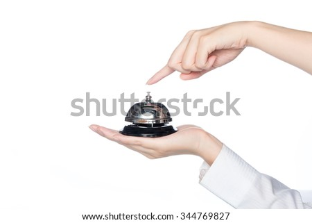 woman hand holding Service bell and press button  on white background
