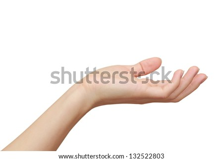 Woman hand holding, showing something isolated on white background