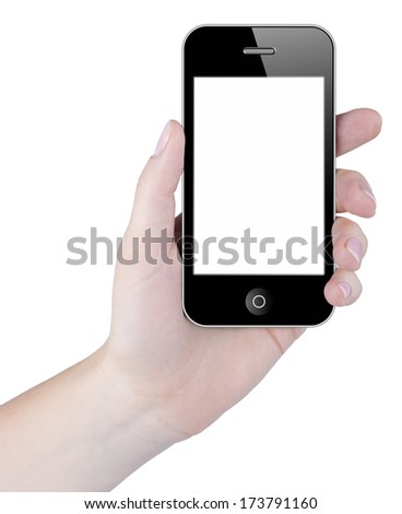 Woman hand holding smart phone with blank touch screen - stock photo
