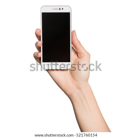 Woman hand holding smartphone. Isolated on white background.