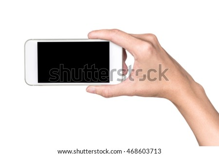 Woman hand holding smartphone with blank screen isolated on white, clipping path included
