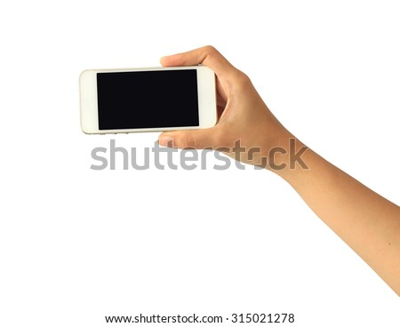 Woman hand holding Smartphone with blank screen on white background