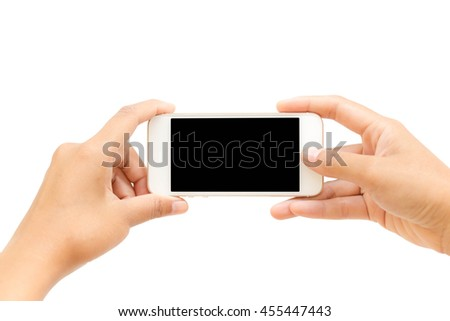 Woman hand holding Smartphone with blank screen on white background.