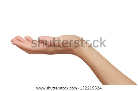 Woman hand holding something empty isolated on white background - stock photo