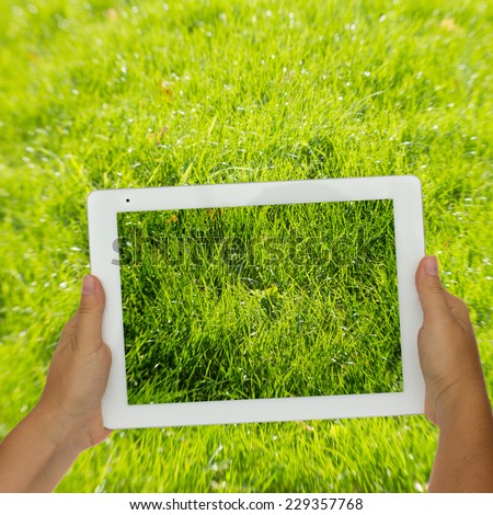 Woman hand holding tablet  against spring green grass background - stock photo