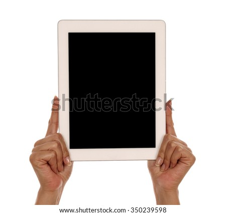 Woman Hand holding tablet isolated on white background in studio  - stock photo
