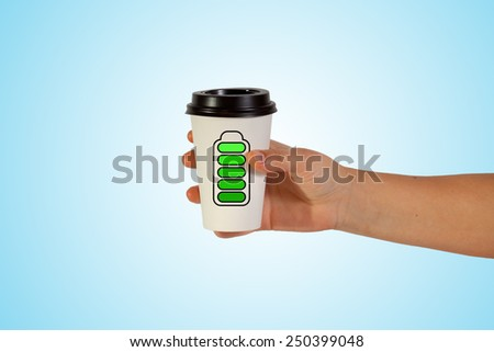 woman hand holding take  cup with energy - stock photo