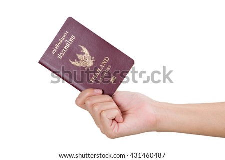 Woman hand holding Thailand passport, isolated on white background.