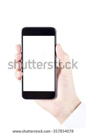 Woman hand holding the black smartphone.