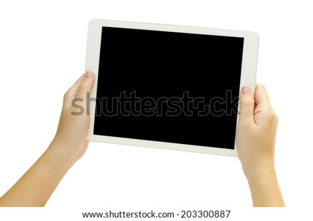 woman hand holding the phone tablet isolated on white background