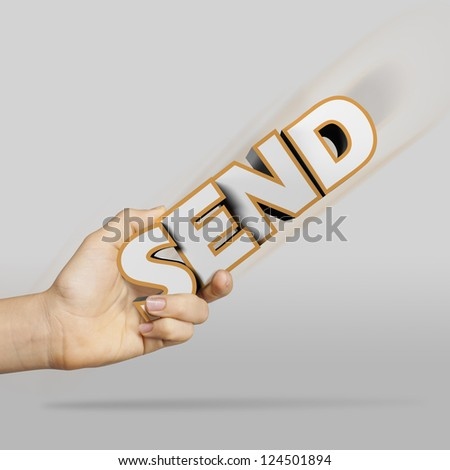 woman hand holding the SEND 3d text sign - stock photo