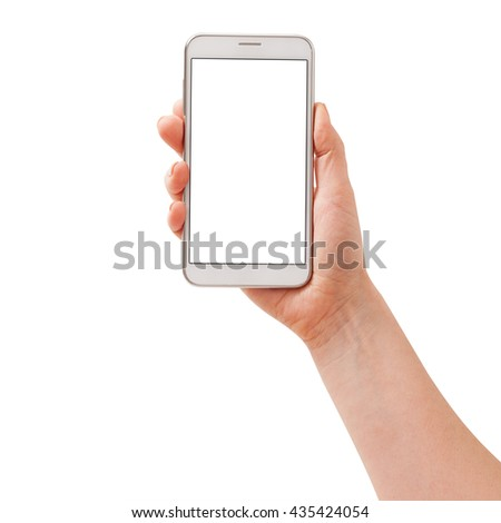 Woman hand holding the white smartphone isolated. - stock photo