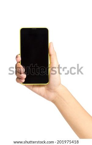 Woman hand holding touch screen mobile phone, tablet touch ,computer gadget yellow border, isolated on white background. - stock photo