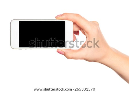 Woman hand holding white smartphone with black screen