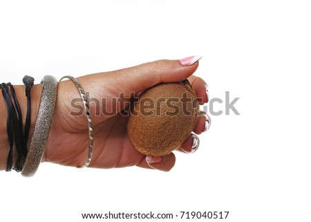 Woman hand holding whole kiwi fruit on isolated white cutout background. Studio photo with studio lighting easy to use for every concept.
