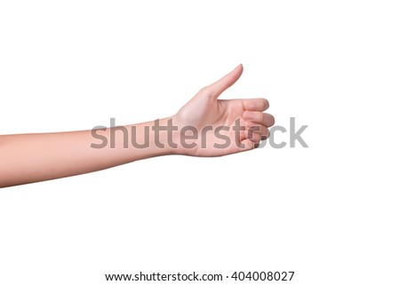 Woman hand holds virtual card or smart phone or something on white background